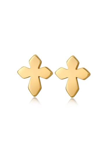 Fashion Gold Plated Cross Shaped Titanium Stud Earrings