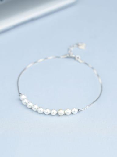 Women Temperament 925 Silver Pearl Bracelet