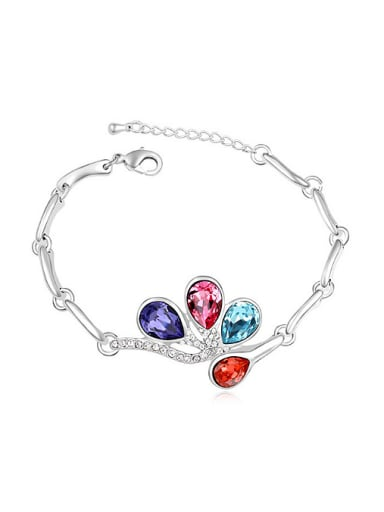 Fashion Water Drop shaped Swarovski Crystals Alloy Bracelet