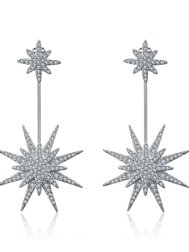 Copper With 18k White Gold Plated Trendy Star Wedding Chandelier Earrings