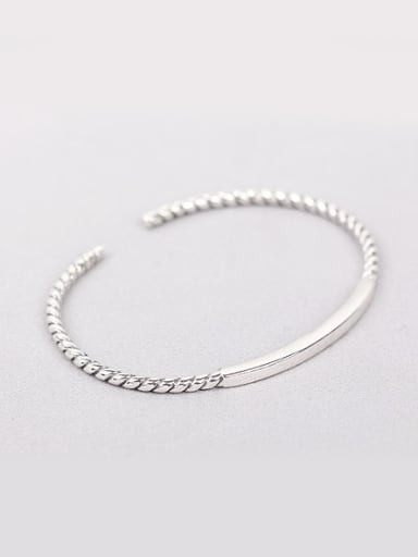Simple Silver Opening Twisted Bangle
