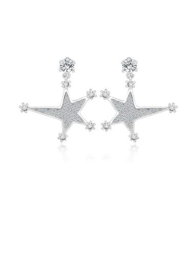 Copper With Cubic Zirconia Luxury Star Stud Earrings