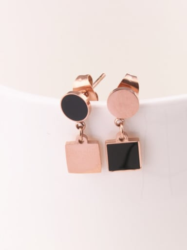 Round Square Simple Temperaments Earrings
