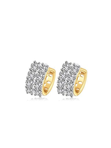 Copper Alloy Gold Plated Fashion Zircon Clip clip on earring