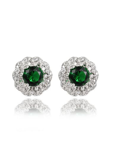 Green Round Shaped Platinum Plated Zircon Stud Earrings