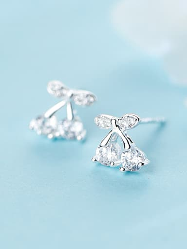 All-match Cherry Shaped Rhinestone S925 Silver Stud Earrings