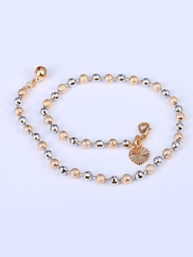 Simple Multi-tone Gold Plated Beads Anklet