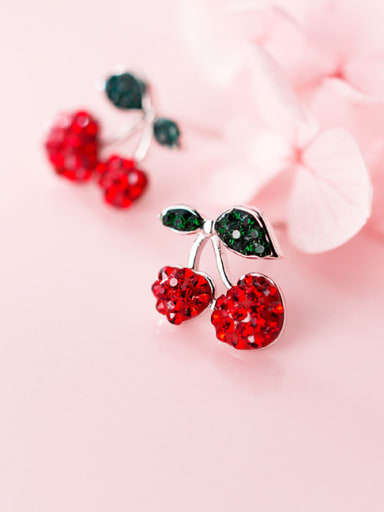 925 Sterling Silver With Platinum Plated Cute Friut  Cherry Stud Earrings