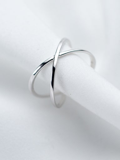 925 Sterling Silver With Platinum Plated Simplistic Geometric Rings