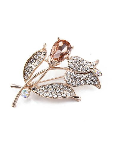 Rose Gold Plated Flower Crystals Brooch