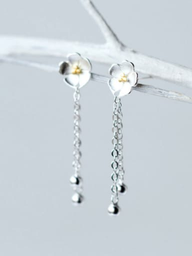 S925 Silver Sweet Cherry Flowers Tassel Drop threader earring