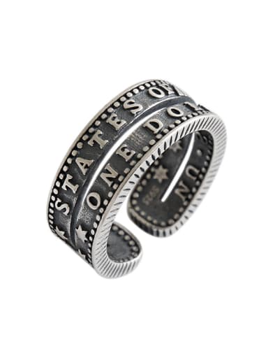 925 Sterling Silver With Antique Silver Plated Vintage Monogrammed Free Size Rings
