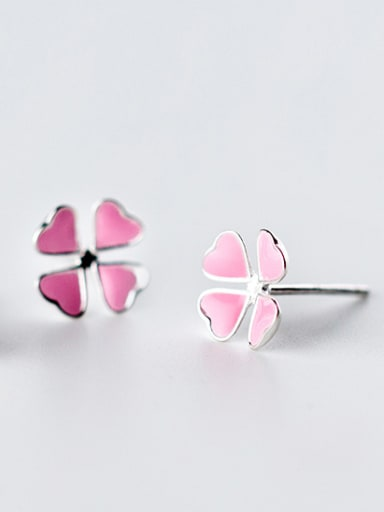 Temperament Pink Clover Shaped Glue Stud Earrings