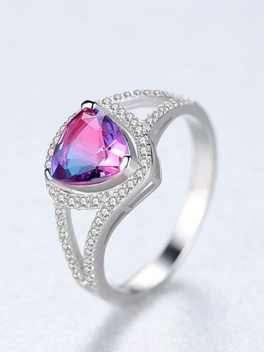 Sterling silver simple heart  semi-precious stone ring