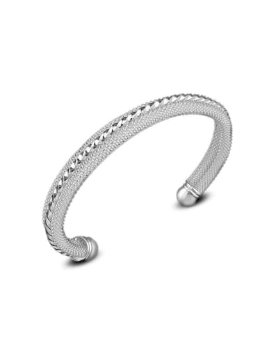 Simple Silver Plated Copper Opening Bangle