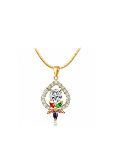 Exquisite 18K Gold Plated Flower Shaped Crystal Necklace