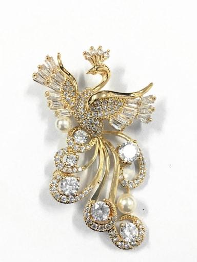Elegant Peacock Artificial Pearl AAA Zirconias Copper Brooch