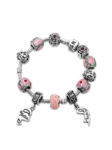 Elegant Pink Tag Shaped Enamel Beaded Bracelet