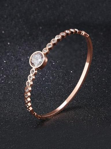 Fashion Cubic Zircon Rose Gold Plated Titanium Bangle