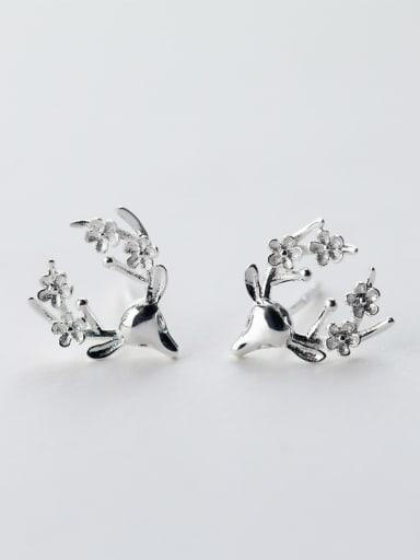 Women Cute Deer Shaped S925 Silver Stud Earrings