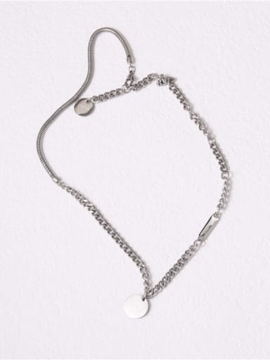 Titanium With Platinum Plated Personality Asymmetry Round Card Necklaces