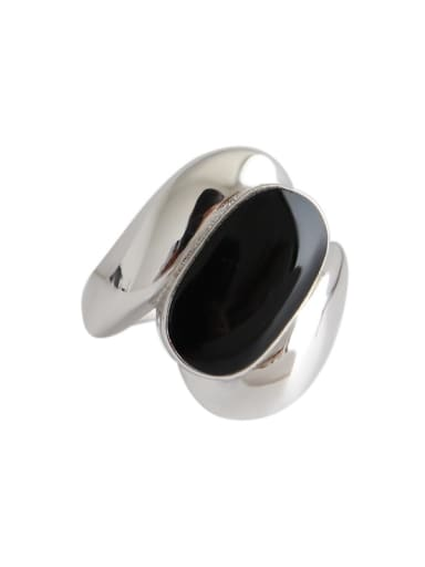925 Sterling Silver With Platinum Plated Vintage Black Epoxy Wide Face Free Size Rings