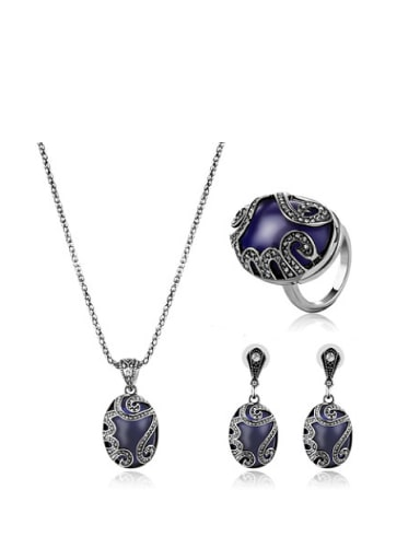 Alloy Antique Silver Plated Vintage style Artificial Stones Oval-shaped Three Pieces Jewelry Set