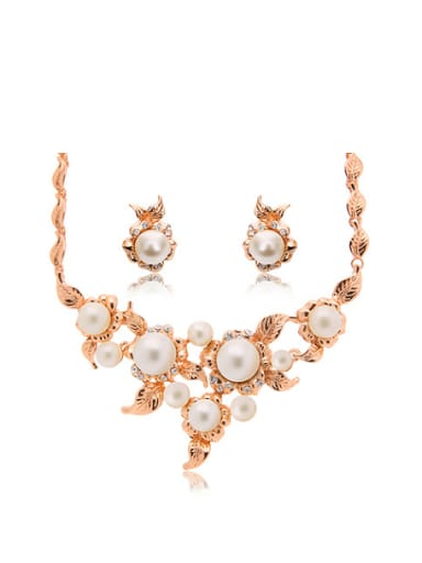 Alloy Rose Gold Plated Fashion Artificial Pearls Two Pieces Jewelry Set