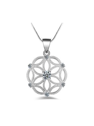 Fashion Hollow Flower Cubic Zirconias Copper Necklace