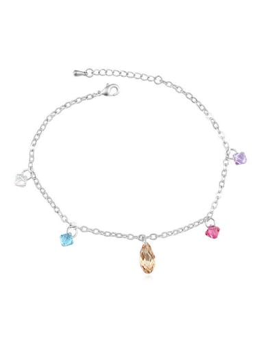 Simple Colorful Swarovski Crystals Alloy Anklet