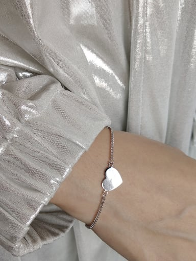 925 Sterling Silver With Platinum Plated Delicate Heart Bracelets