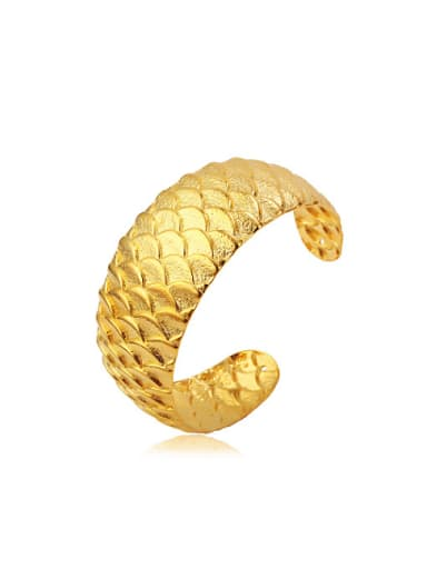 Copper Alloy 24K Gold Plated Retro style Dragon Scale Opening Bangle