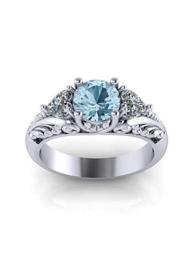 Women Blue Platinum Plated Round Shaped Stone Ring
