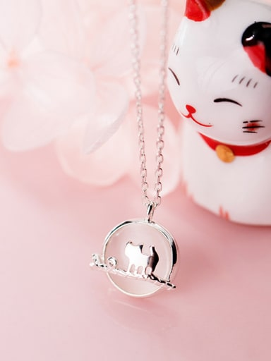 925 Sterling Silver With Platinum Plated Simplistic Animal Cat Necklaces