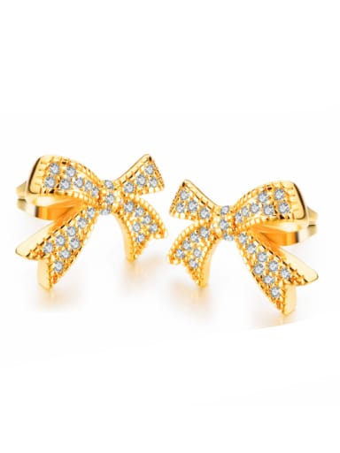 Copper With 18k Gold Plated Classic Bowknot Earrings