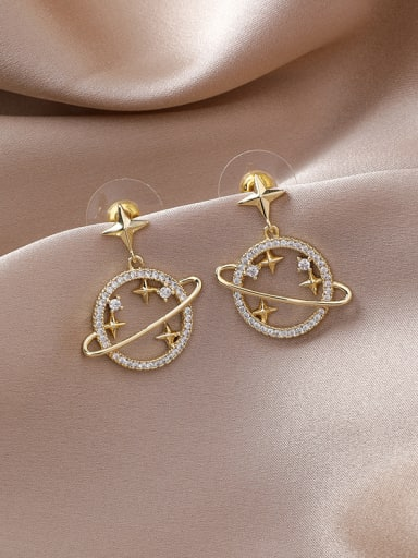 Alloy With Gold Plated Simplistic Planet  Drop Earrings