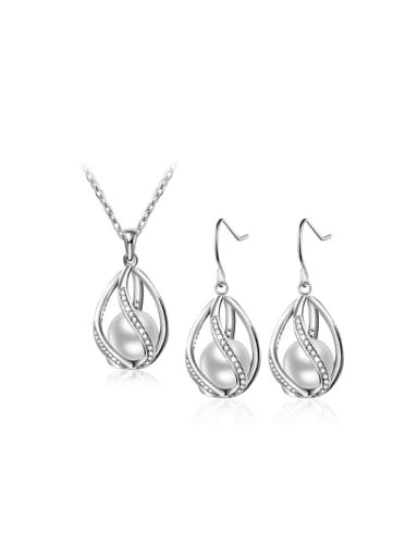 Women Exquisite Water Drop Artificial Pearl Two Pieces Jewelry Set