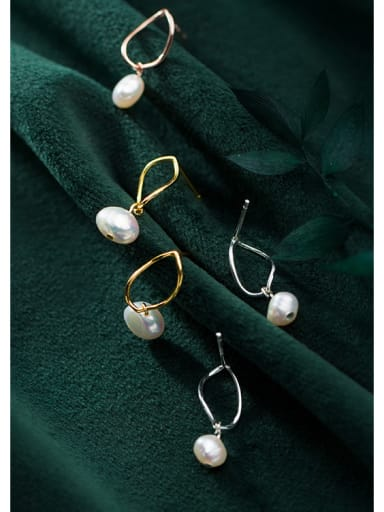 925 Sterling Silver With  Artificial Pearl Simplistic Oval Drop Earrings