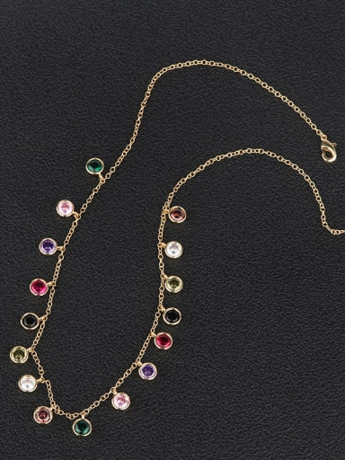 Copper With  Cubic Zirconia Fashion Charm Beaded Necklaces