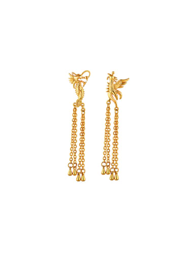 Copper Alloy 24K Gold Plated Classical Dragon Phoenix Drop threader earring
