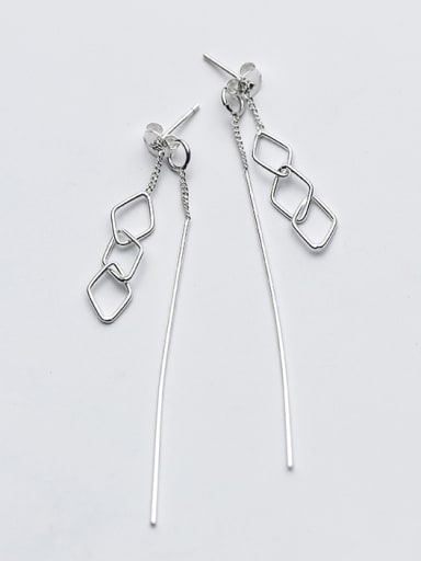 Exquisite Diamond Shaped S925 Silver Drop Earrings