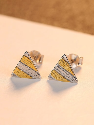 925 Sterling Silver Simplistic Two-color  Triangle Stud Earrings