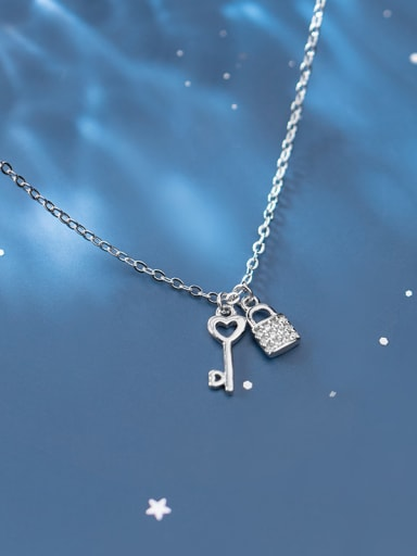 925 Sterling Silver With Platinum Plated Personality Locket Key  Necklaces
