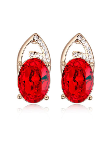 Personalized Oval Swarovski Crystal-accented Alloy Stud Earrings