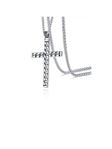 Stainless Steel With Platinum Plated Simplistic Cross Necklaces