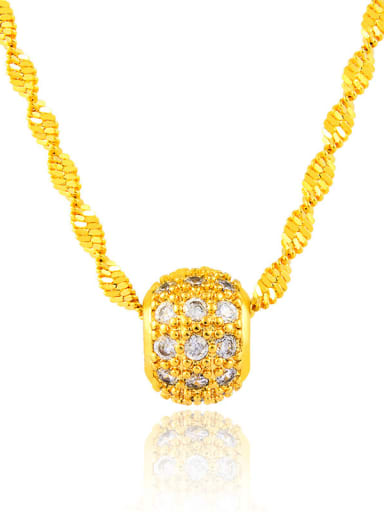 Fashionable Geometric Shaped Zircon 24K Gold Plated Necklace