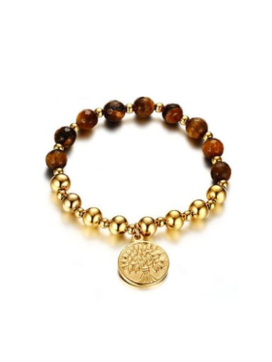 Exquisite Gold Plated Stone Stainless Steel Bracelet