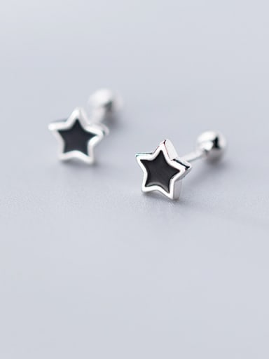 925 Sterling Silver With Acrylic  Cute Star Stud Earrings