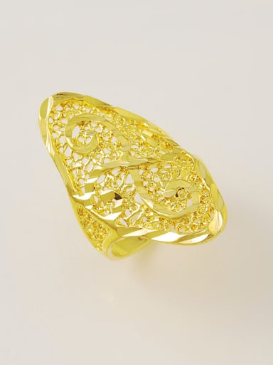 Exaggerated Hollow Geometric Design 24K Gold Plated Ring
