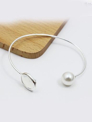 Women Adjustable Length Artificial Pearl Bangle